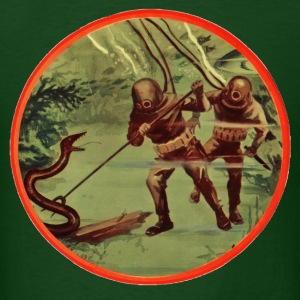 Vintage Divers with Helmets Fighting an Eel - Men's T-Shirt
