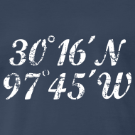 Design ~ Austin Coordinates T-Shirt (Men Navy/White) Vintage