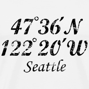Seattle, Washington Coordinates T-Shirt Vintage Bl - Men's Premium T-Shirt