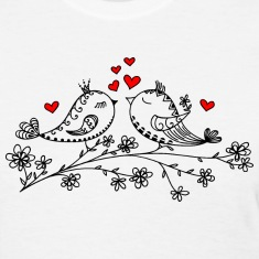 Birdie Love, Heart, Bird, Valentine`s Day, Summer Women's T-Shirts