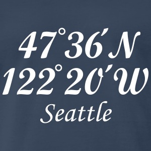 Seattle, Washington Coordinates T-Shirt (Men Navy/ - Men's Premium T-Shirt