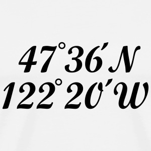 Seattle, Washington Coordinates T-Shirt (Men White - Men's Premium T-Shirt