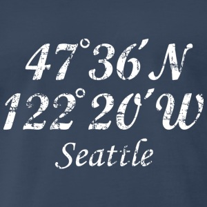 Seattle, Washington Coordinates T-Shirt Vintage Wh - Men's Premium T-Shirt