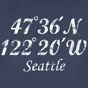 Seattle, Washington Coordinates T-Shirt Vintage Wh - Women's Premium T-Shirt