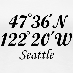 Seattle, Washington Coordinates T-Shirt (Women Whi - Women's Premium T-Shirt