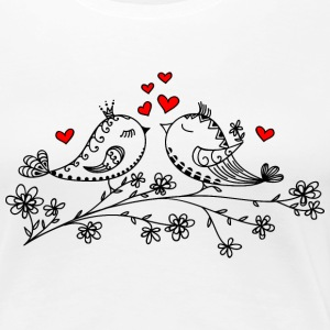 Birdie Love, Heart, Bird, Valentine`s Day, Summer Women's T-Shirts - Women's Premium T-Shirt