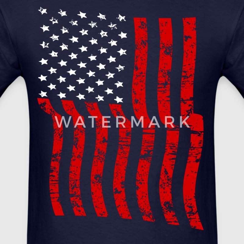 Vintage Waving USA Flag Patriotic T-Shirts Design - Men's T-Shirt