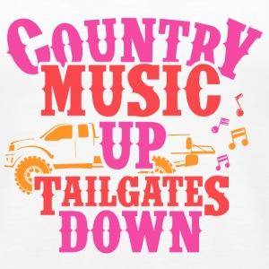 COUNTRY MUSIC UP- TAILGATES DOWN - Women's Premium Tank Top