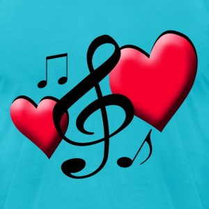 Two Hearts Music - Men's T-Shirt by American Apparel