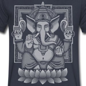 Ganesh White Halftone T-Shirts - Men's V-Neck T-Shirt by Canvas