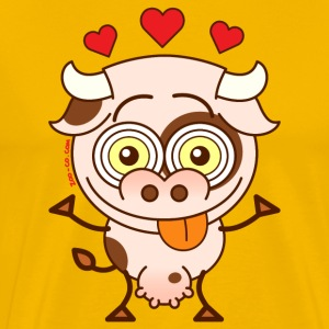 Cute cow falling madly in love T-Shirts - Men's Premium T-Shirt