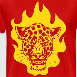Fire Leopard by Cheerful Madness!! T-Shirts - Men's Premium T-Shirt