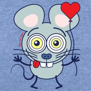 Little mouse falling madly in love Long Sleeve Shirts - Women's Wideneck Sweatshirt