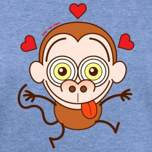 Crazy monkey falling in love Long Sleeve Shirts - Women's Wideneck Sweatshirt