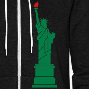Statue of Liberty, Lady Liberty Zip Hoodies & Jackets - Unisex Fleece Zip Hoodie by American Apparel