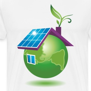 green world with solar roof - Men's Premium T-Shirt