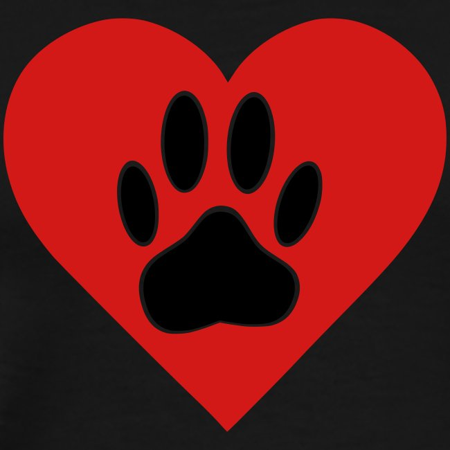 Black Dog Paw In Red Heart