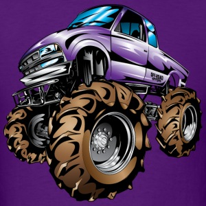 Purple Mud Truck Cartoon T-Shirts - Men's T-Shirt