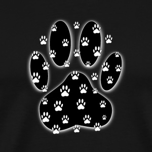 Black Paw With White Paw Prints All Over - Men's Premium T-Shirt