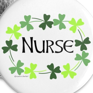 Nurse Shamrock Oval Buttons - Large Buttons