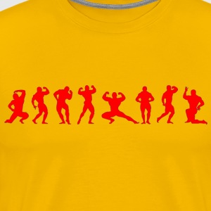 Bodybuilders silhouettes red on yellow - Men's Premium T-Shirt