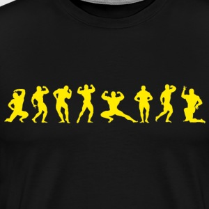 Bodybuilders silhouettes yellow on black - Men's Premium T-Shirt