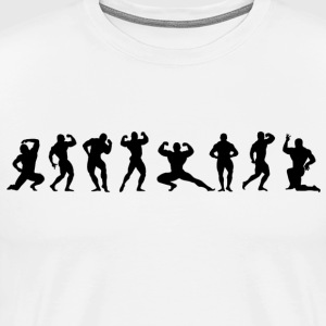 Bodybuilders silhouettes black on white - Men's Premium T-Shirt