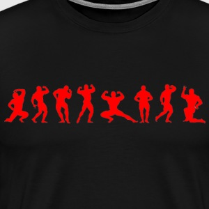 Bodybuilders silhouettes red on black - Men's Premium T-Shirt