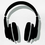 Design ~ Headphones T-Shirt (Women/White) Shadow