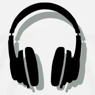 Design ~ Headphones T-Shirt (Men/White) Shadow
