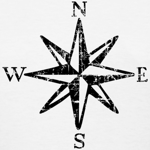 Compass Rose NESW Vintage monochrome