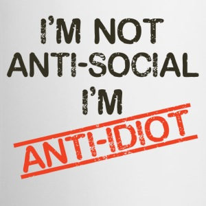 i'm not anti social i'm anti idiot - Contrast Coffee Mug