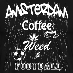Amsterdam Coffee Weed Football Black T-Shirt - Men's Premium T-Shirt