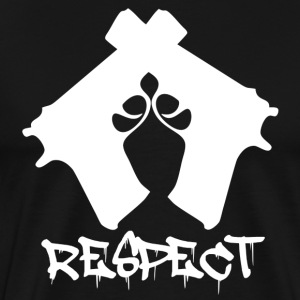Respect Guns Crossed Black T-Shirt - Men's Premium T-Shirt