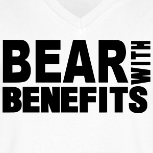 BEAR WITH BENEFITS - Men's V-Neck T-Shirt by Canvas