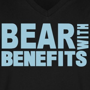 BEAR WITH BENEFITS T-Shirts - Men's V-Neck T-Shirt by Canvas