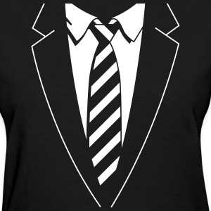 Tuxedo Striped Tie Women's T-Shirts - Women's T-Shirt