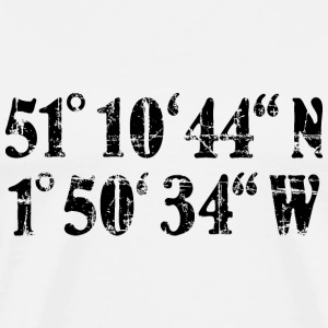 Stonehenge Coordinates T-Shirt (Men White/Black) P - Men's Premium T-Shirt