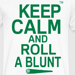 Keep Calm And Roll A Blunt T-Shirts - Men's V-Neck T-Shirt by Canvas