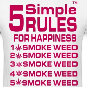 5 Simple Rules For Happiness Smoke Weed T-Shirts - Men's T-Shirt