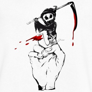 A Grim Reaper as a finger puppet T-Shirts - Men's V-Neck T-Shirt by Canvas