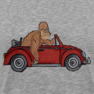 Bigfoot driving a  Beetle - Men's Premium T-Shirt