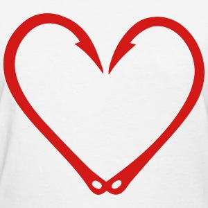 Fish Hooks Heart - Women's T-Shirt