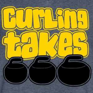 Curling Takes Stones 2 T-Shirts - Men's V-Neck T-Shirt by Canvas