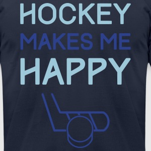 Hockey Makes Me Happy T-Shirts - Men's T-Shirt by American Apparel