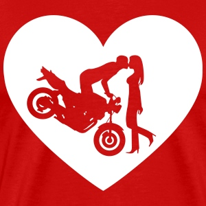 Motorcycle kiss Naked Bike Heart Shirt - Men's Premium T-Shirt