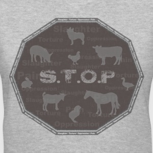 S.T.O.P Slaughter.Torture.Oppression.Pain - Women's V-Neck T-Shirt