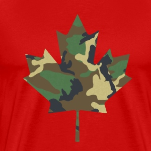 Canadian Maple Leaf - Camo on Red - Men's Premium T-Shirt