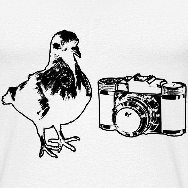 Pigeon Camera Baseball Tee