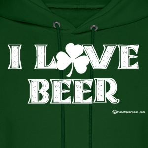 I Love Beer (Shamrock) Men's Hooded Sweatshirt - Men's Hoodie